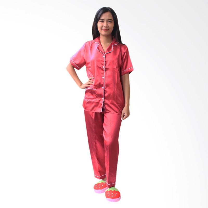 84b01d7aa1 Daftar Harga Aily ALY016 Satin Polos Setelan Piyama Wanita - Merah ...