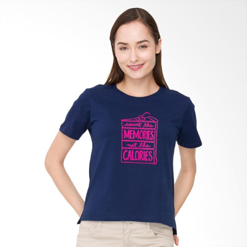 Bossini 02083009054 S/S R/NK BL 23 Fashion Body Print Tee Atasan Wanita - Navy