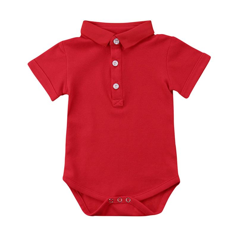 Abby Baby Polo Romper Anak - Red