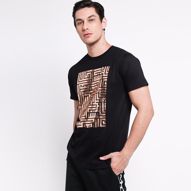 TS The Label Maze T Shirt Pria Rose Gold Black