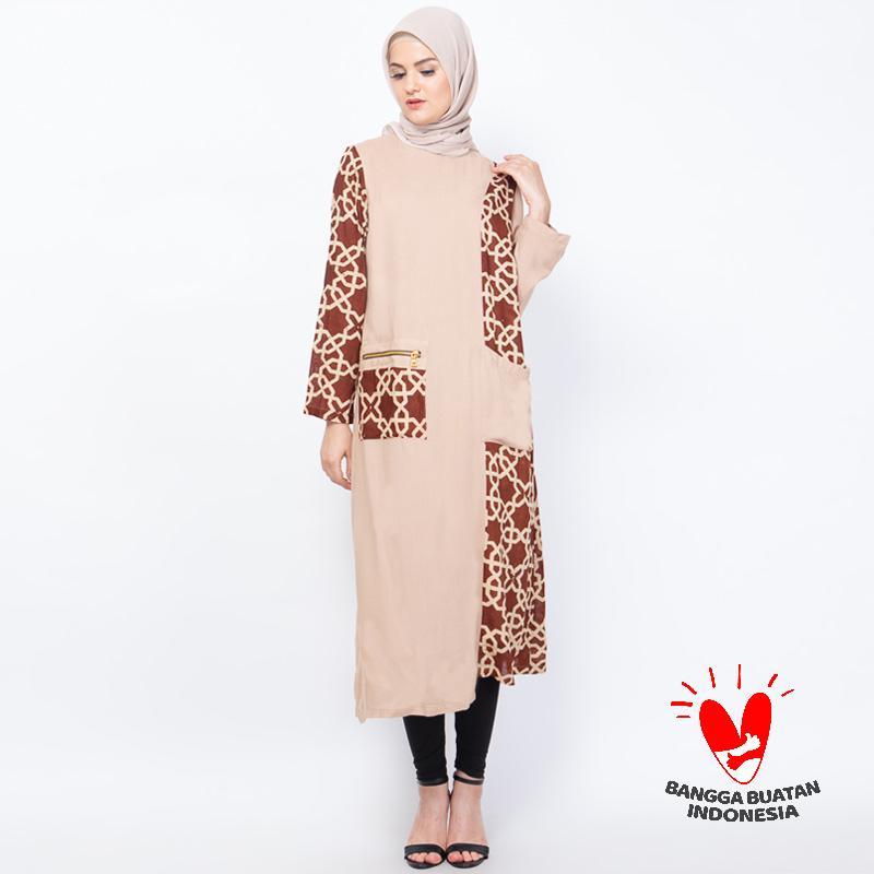 Hanari Long Tunik Authentic Batik Cap Motif Islamic Geometric Atasan Wanita