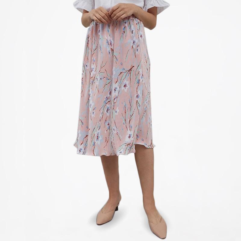 Berrybenka Naome Pleated Skirt Wanita Pink