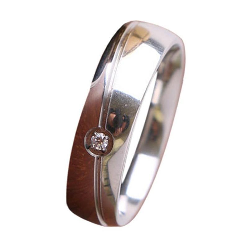 Bluelans Unisex Fashion Rhinestone Plain Titanium Steel Wedding Engagement Ring Size US 6 - Silver