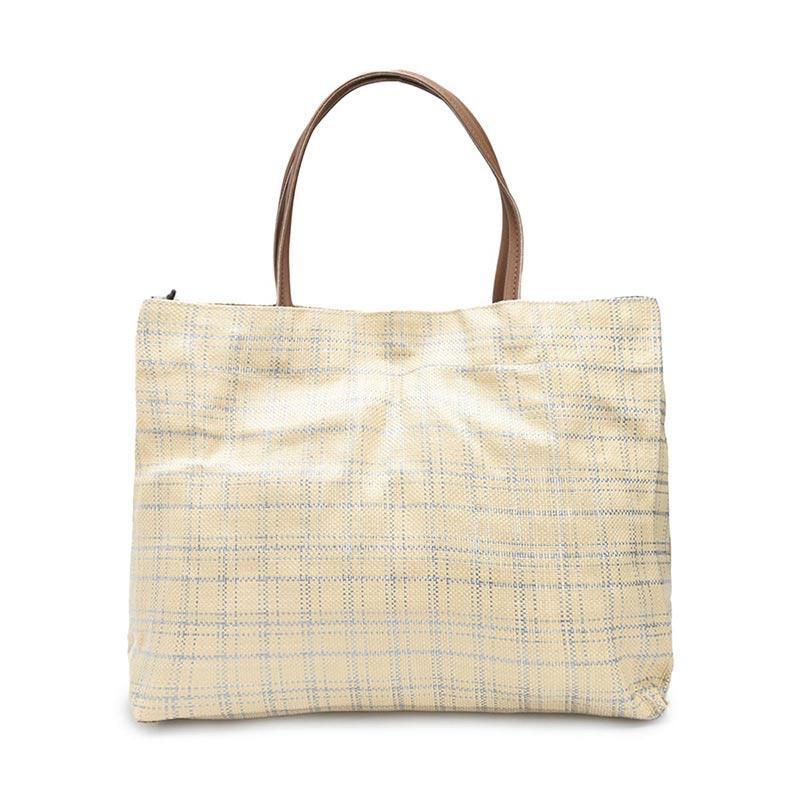 3Mongkis WTF Exclusive BLI 33 Square Pattern Tote Bag Wanita Cream