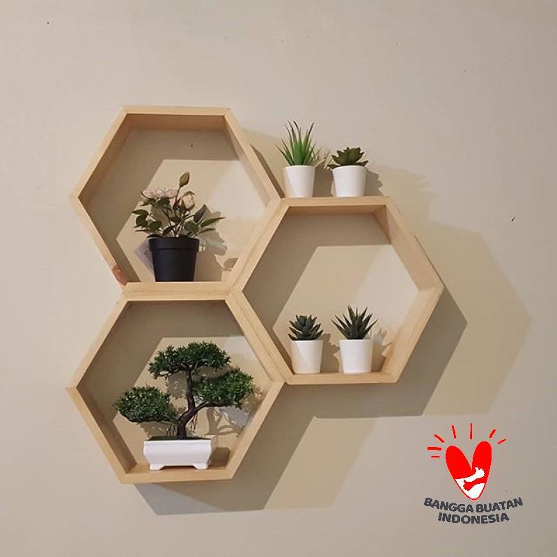 Rak Dinding Pajangan Hexagonal Minimalis Modern 30