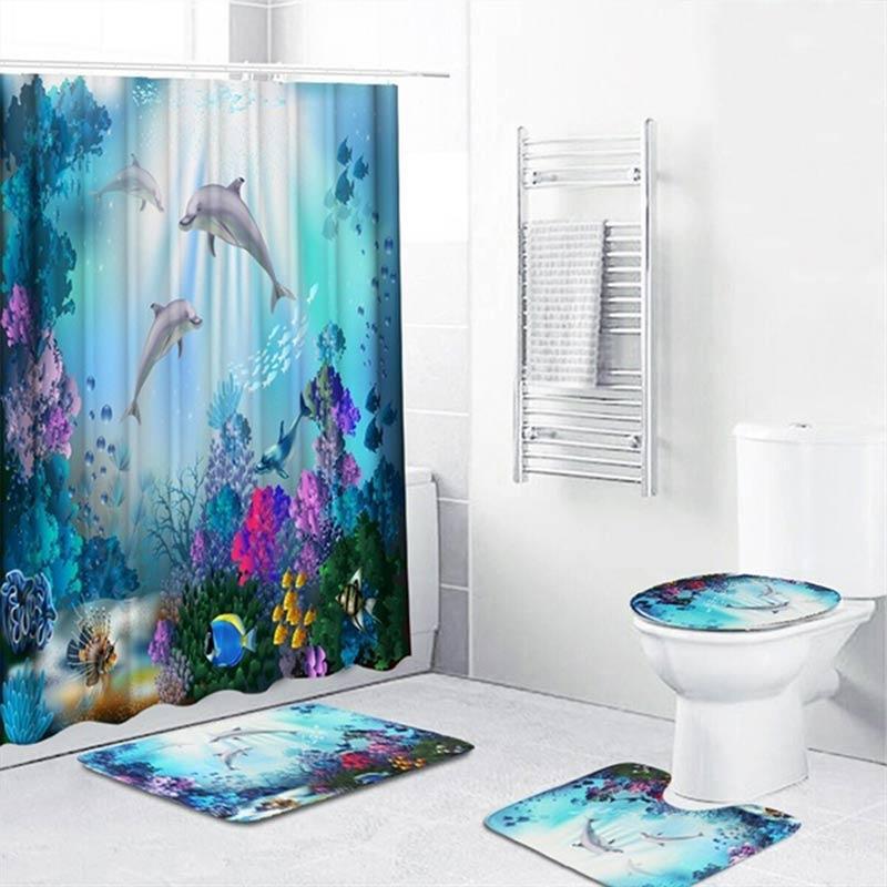 Jual Sea Dolphin Print Waterproof Bath Shower Curtain Cushion Home Bathroom Decor Online Januari 2021 Blibli