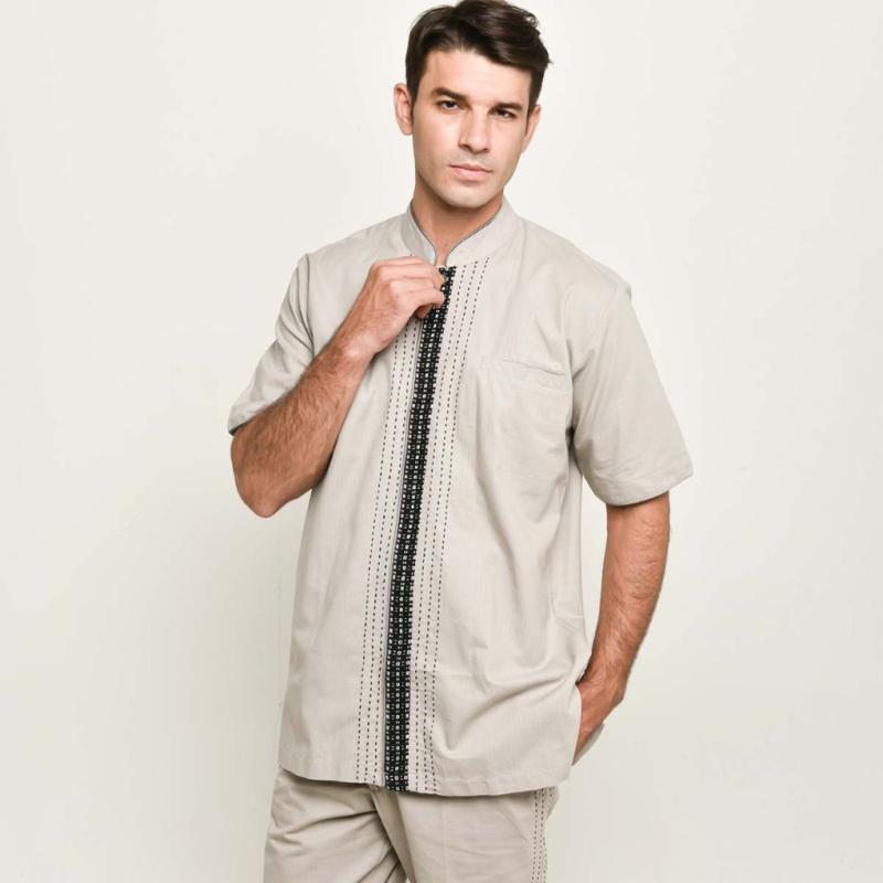 Adrie Basuki Tenun Baduy Ghodin Short Sleeve Shirt Grey