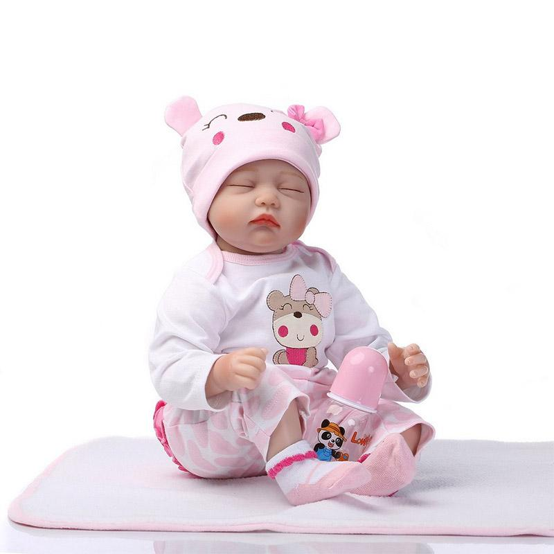 NPK Reborn Baby Doll Soft Simulation Silicone Girl Toy 22 inch  55cm Pink Flower