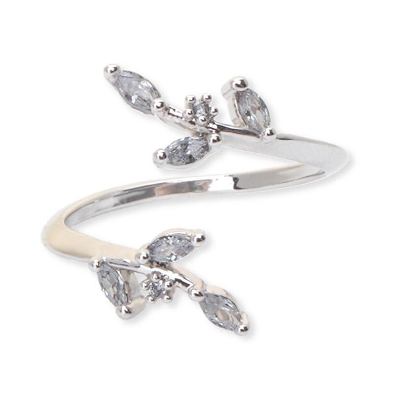 Cocoa Jewelry Two Leaf Angles Korea Cincin Wanita Silver
