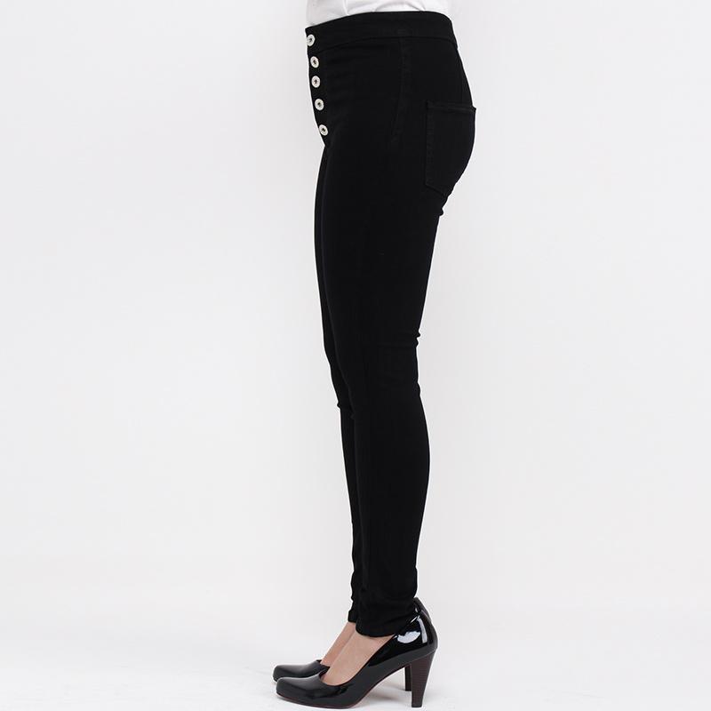 Jual Jsk Jeans High Rise Skinny 5 Button Celana Jeans Wanita Hitam Online Desember 2020 Blibli