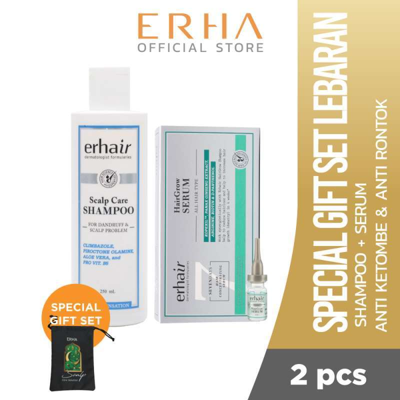 Erha Gift Set Lebaran Hairgrow Solution Shampoo dan Serum Penumbuh Rambut