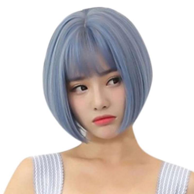 Jual Fashion Deal Fashion Synthetic Short Bob Straight Blue Hair Wig Natural Hair Wigs Cool Wig Online Oktober 2020 Blibli Com