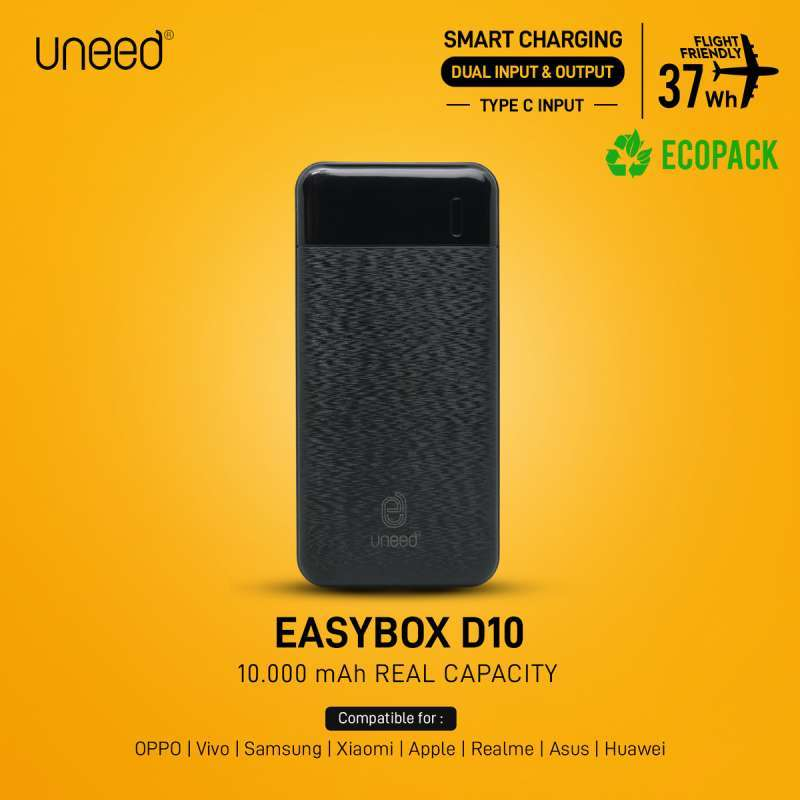 Uneed UPB414 EasyBox D10 Powerbank Smart Charging 10000mAh 2 1A