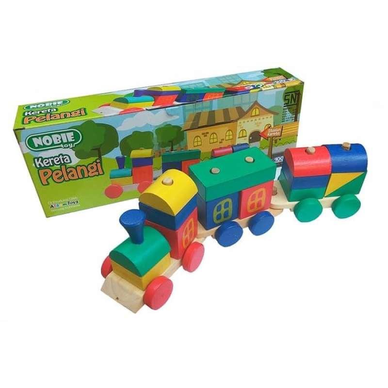 Nobie Toy Kereta Kayu Pelangi Mainan Edukasi