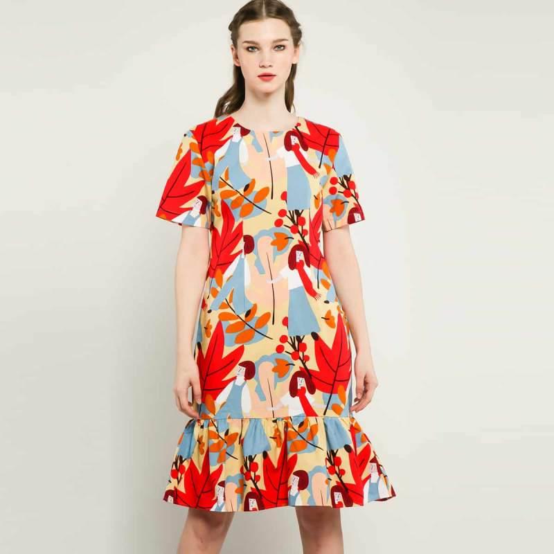 Cotton Tree Kaya Dress BLI 36 Dress Wanita Brown