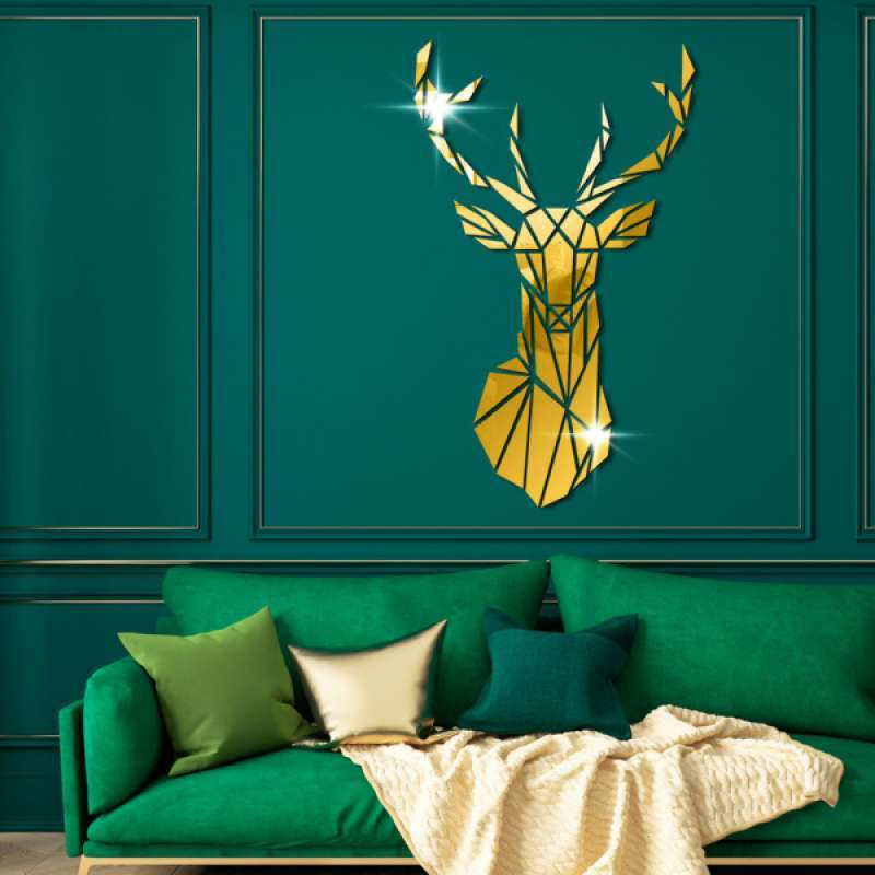 Jual Acrylic Wall Sticker 3d Deer Head Home Decor Wall Decal Mirror Modern Wall Art Online November 2020 Blibli Com