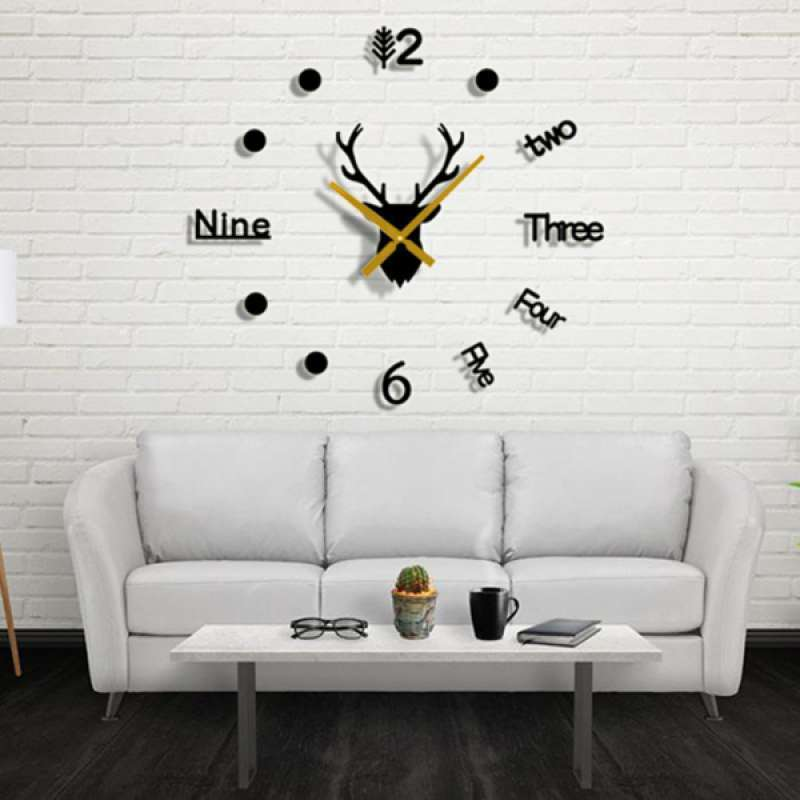 Jual Deer Head 3d Diy Wall Clock Sticker Decor Kit For Living Room No Battery Online Oktober 2020 Blibli Com
