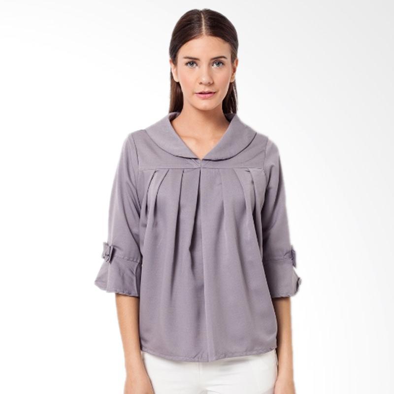 Duapola 26096 Collar Remple Bell Blouse Atasan Wanita - Abu-abu bawah