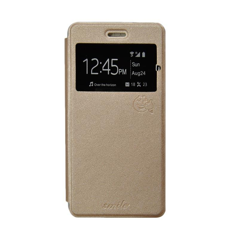 Smile Flip Cover Casing for Samsung Galaxy A5 - Gold