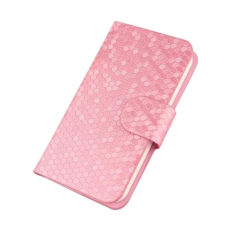 OEM Glitz Flip Cover Casing for LG K10 - Merah Muda