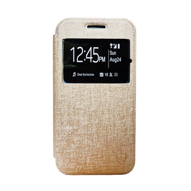 Zagbox Flip Cover Casing for Xiaomi Redmi Note 2 - Gold