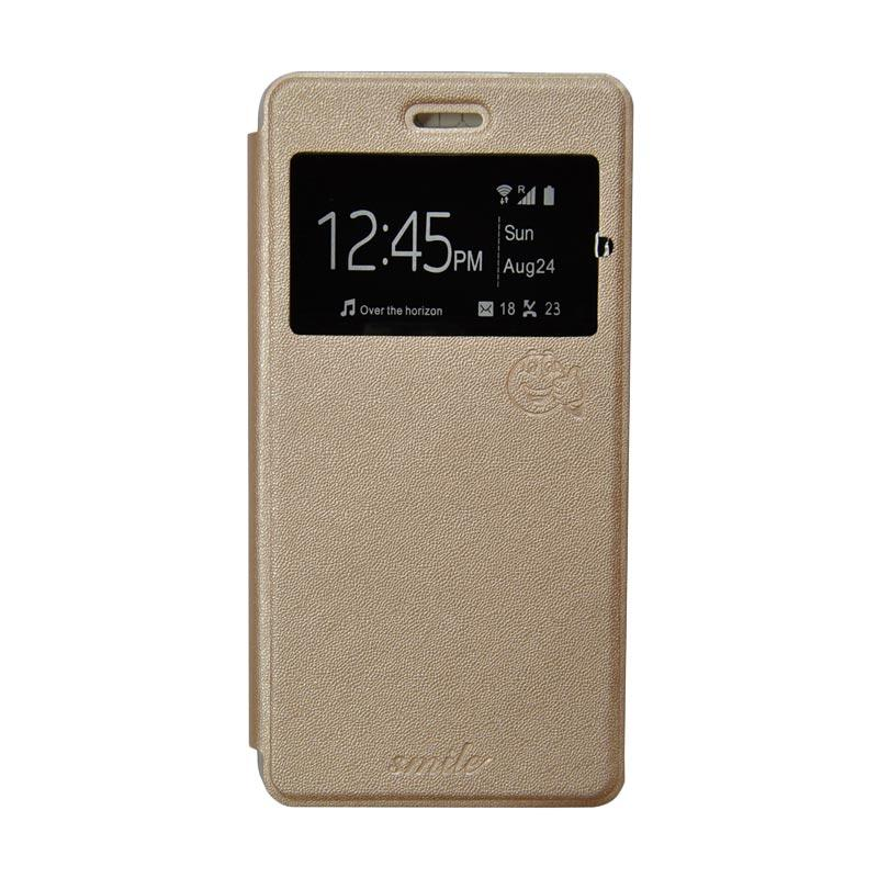 SMILE Flip Cover Casing for Samsung Galaxy E5 - Gold