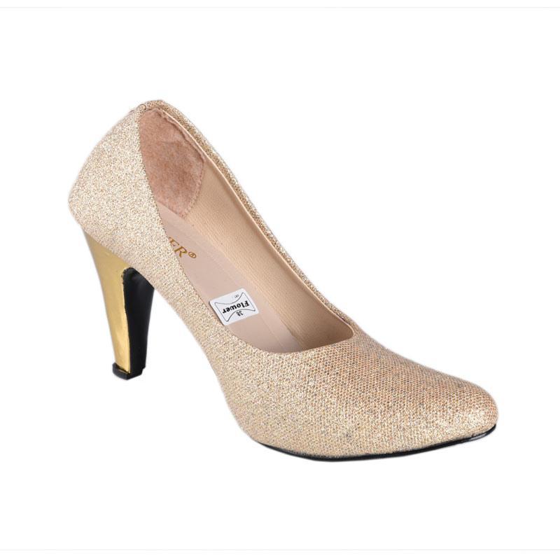 Flower SN-079 High Heels Sepatu Wanita - Gold