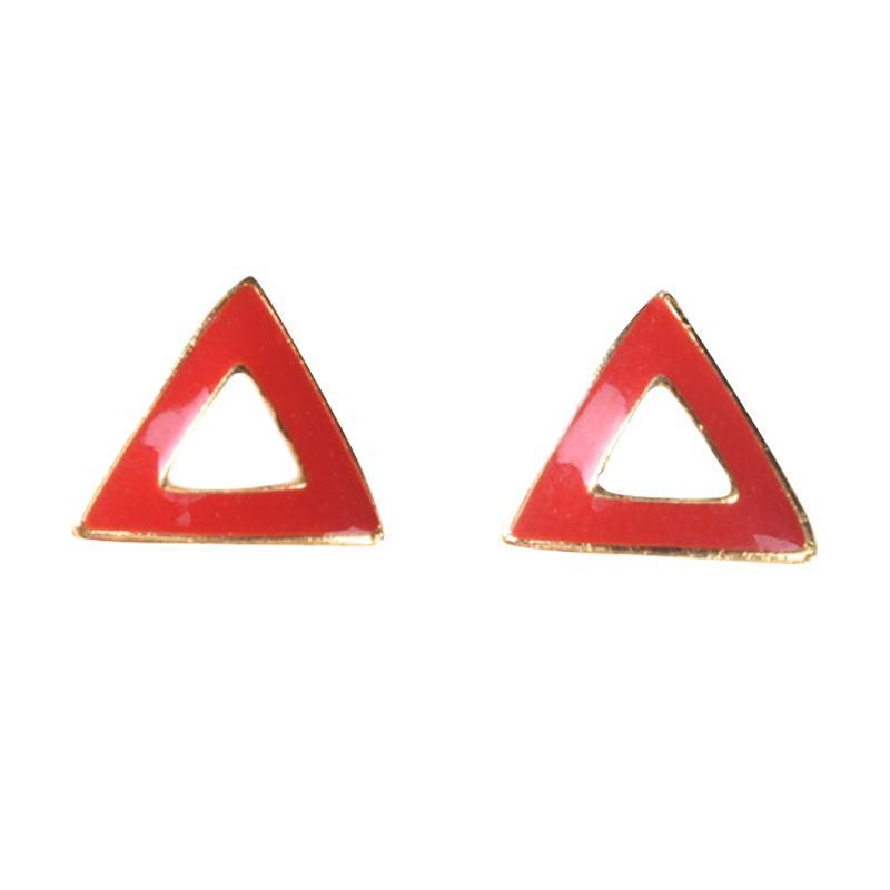 1901 Jewelry G0240033 Triangle Studs Giwang - Red