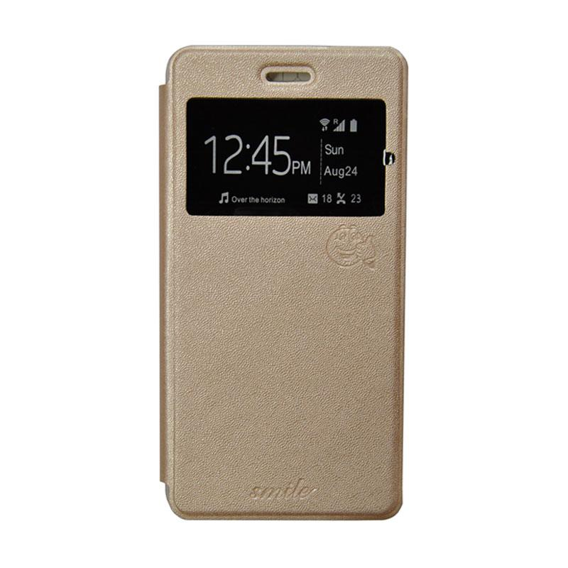 Smile Flip Cover Casing for Samsung Galaxy E7 - Gold
