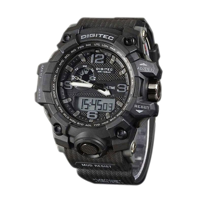 Digitec DG2093SS Dualtime Watch Jam Tangan Pria - Hitam