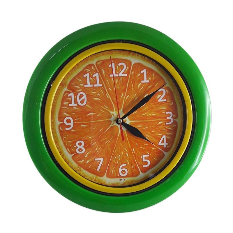 TJ BA 07 Motif Buah Jeruk Ring Jam Dinding - Green [25cm]