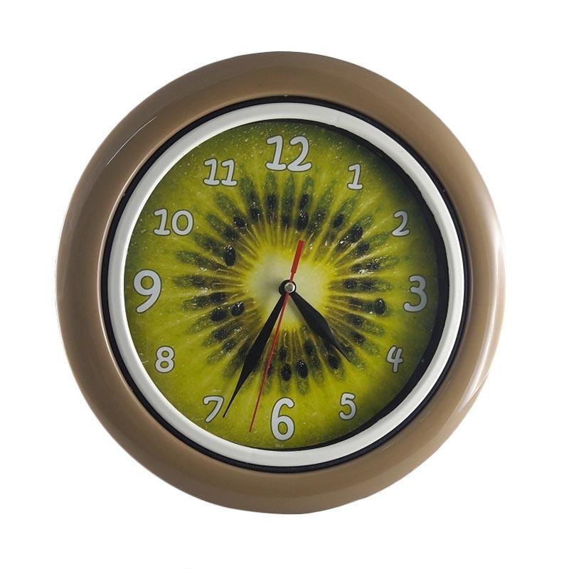 Miracle BA 16 Motif Buah Kiwi Ring Jam dinding - Brown [25 cm]