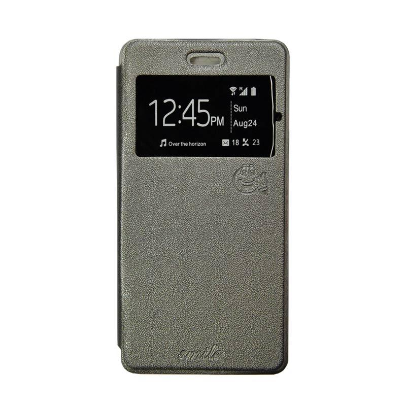Smile Flip Cover Casing for Asus Zenfone C or 4C - Abu-abu
