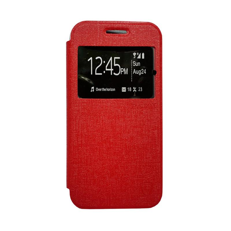 Zagbox Flip Cover Casing for Samsung Galaxy J1 - Merah