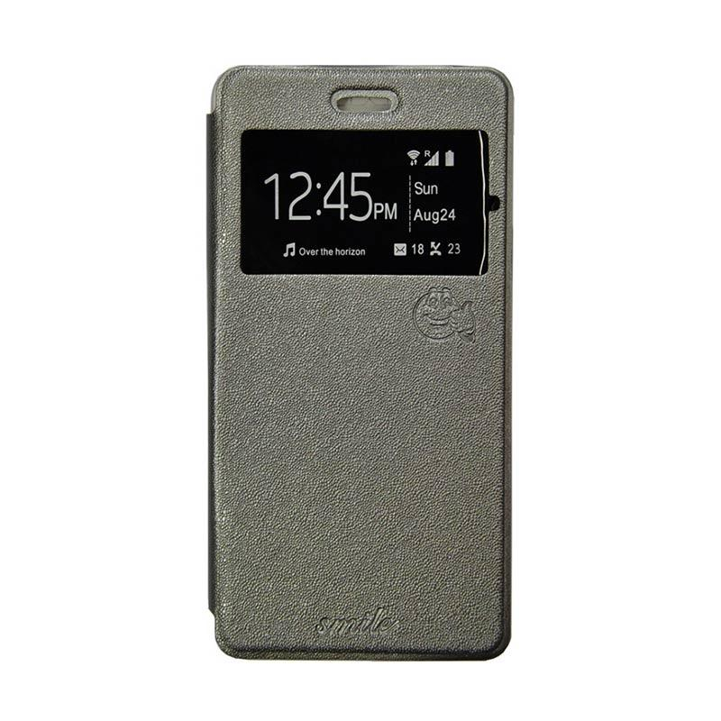 Smile Flip Cover Casing for Oppo F1S A59 - Abu-abu