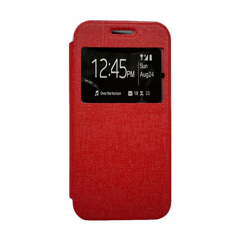 Zagbox Flip Cover Casing for Samsung Galaxy E7 - Merah