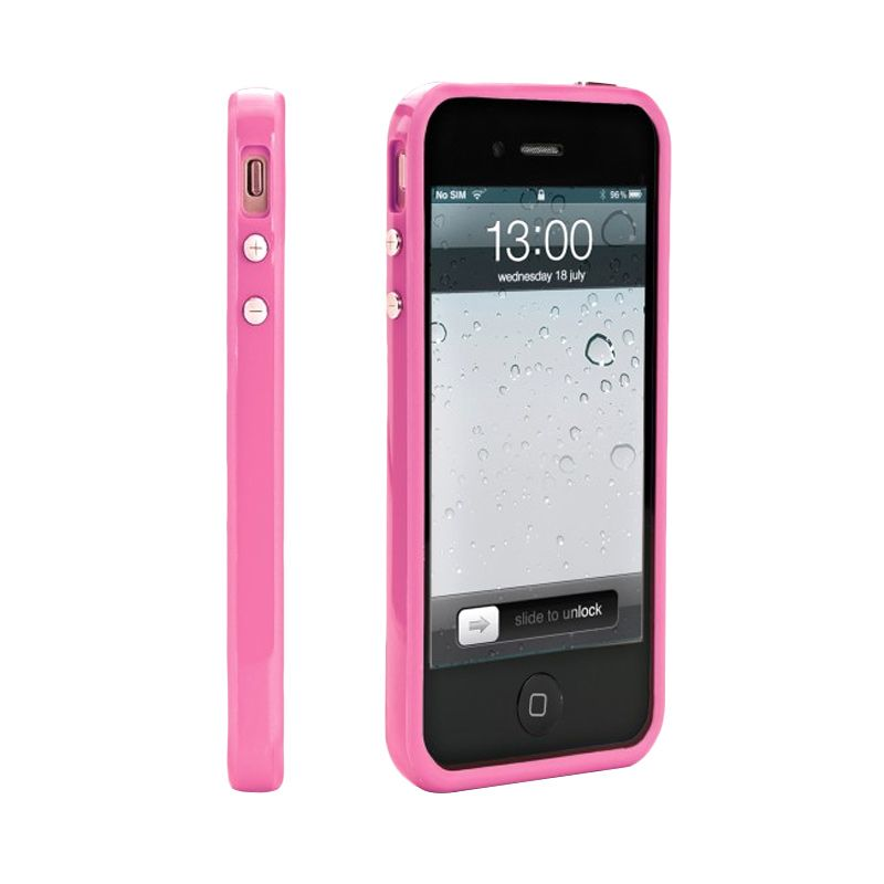 The King Tech Pink Bumper casing for iPhone 4
