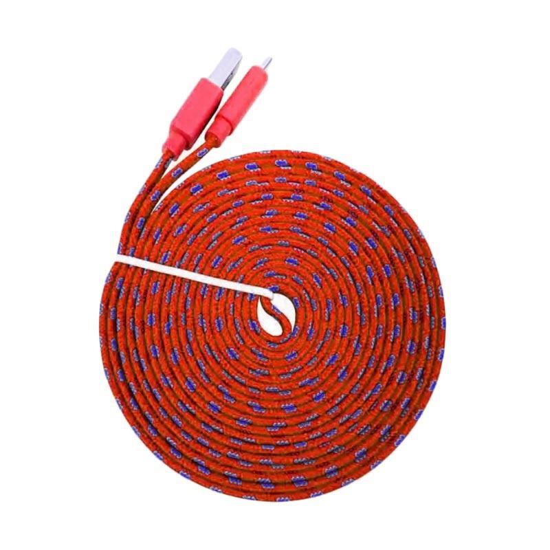 Jual MR82 Tali Sepatu Micro USB Charger Kabel Data - Merah [3 m] Terbaru - Harga Promo