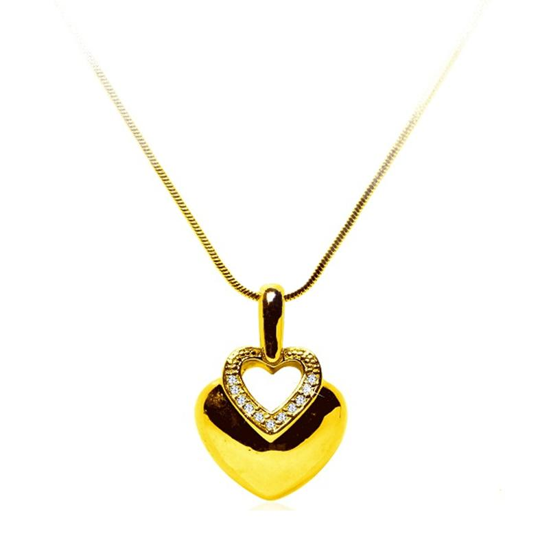 jual afina jewelry heart korean necklace gold online