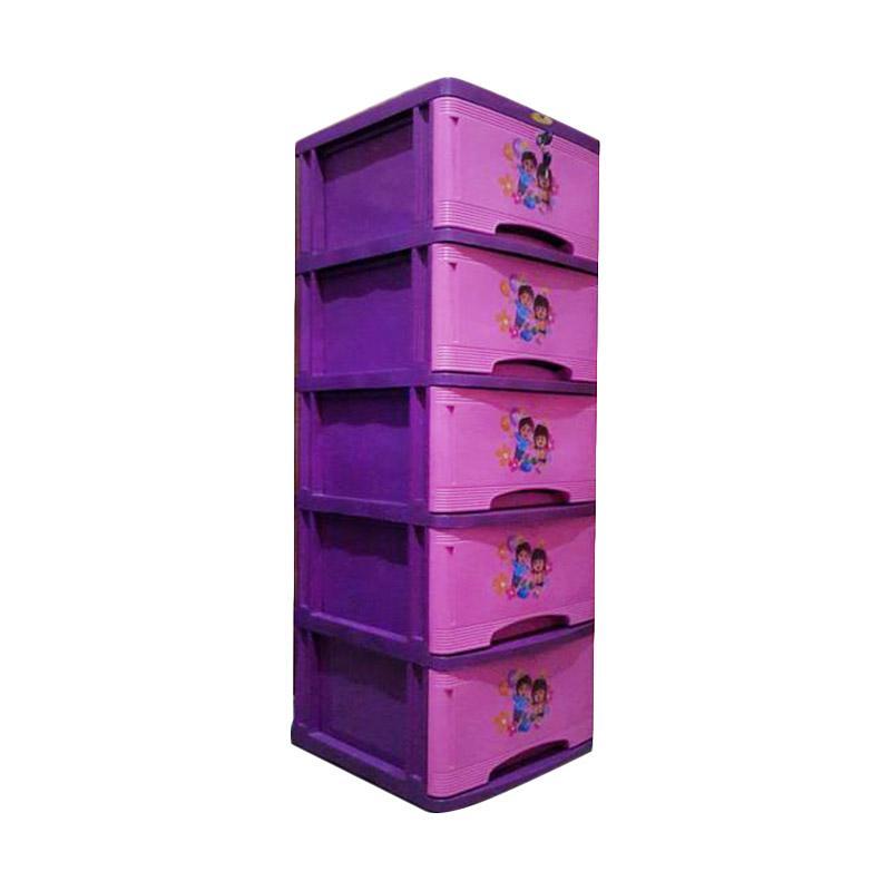 Jual Tulip Bergambar 5 Susun Lemari Plastik Pink Online