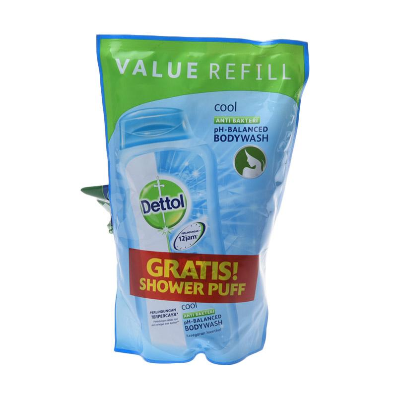Jual Dettol Pouch Cool Body Wash 450 ML Shower Puff