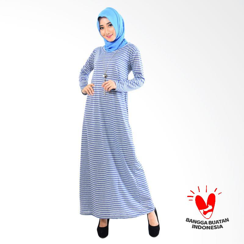 Jual Jfashion Stripe Maxi Simpel Elegan Gamis  Biru Tua