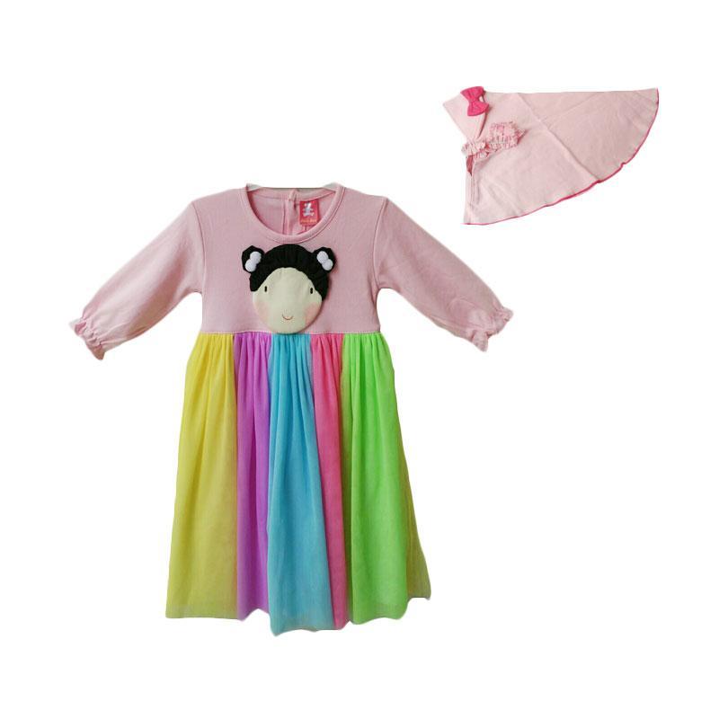 Jual Petite Bear Baju Gamis Rainbow Anak Perempuan Pink