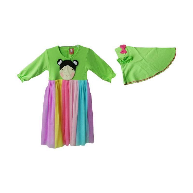 Jual Petite Bear Baju Gamis Rainbow Anak Perempuan Hijau