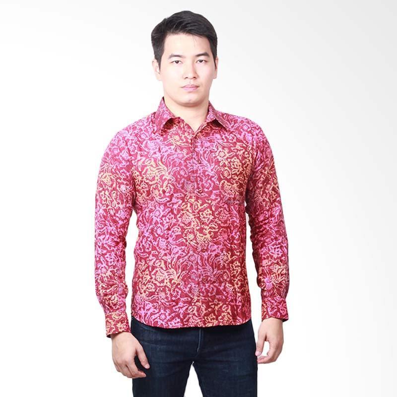 Batik Pekalongan Pria Panjang: Jual Parama Batik Lengan Panjang Slim Fit Cerise Kemeja