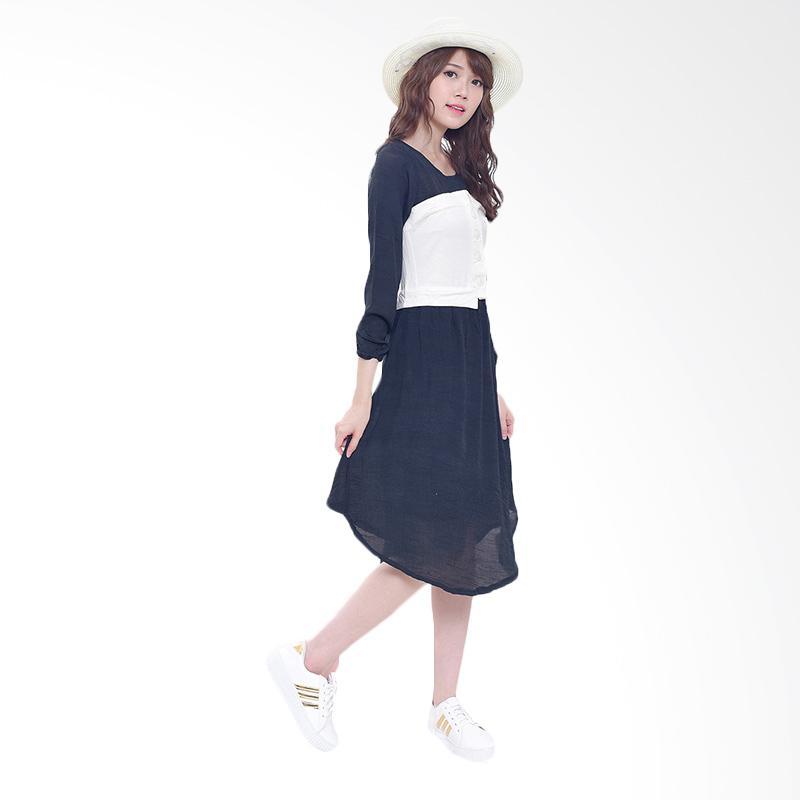 Jual Jfashion Korean Style Midi Dress Combination Corry Hitam Online Harga Kualitas