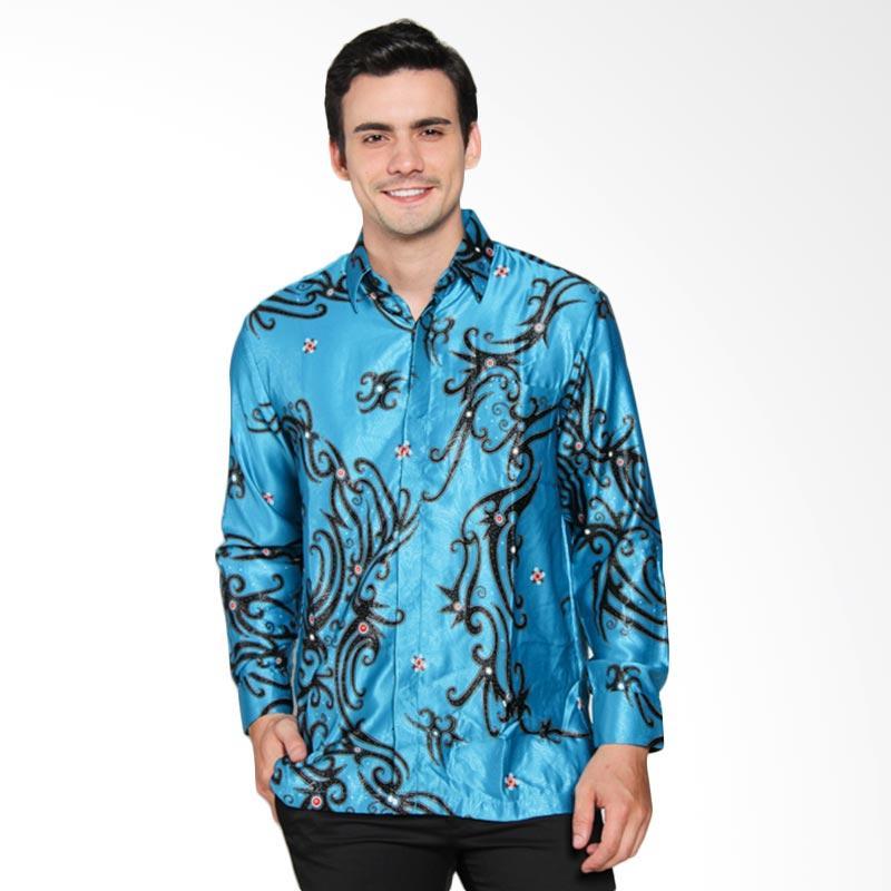 Jual batik waskito kb le 61775 short silk shirt batik pria for Men s batik bay silk blend button down shirt