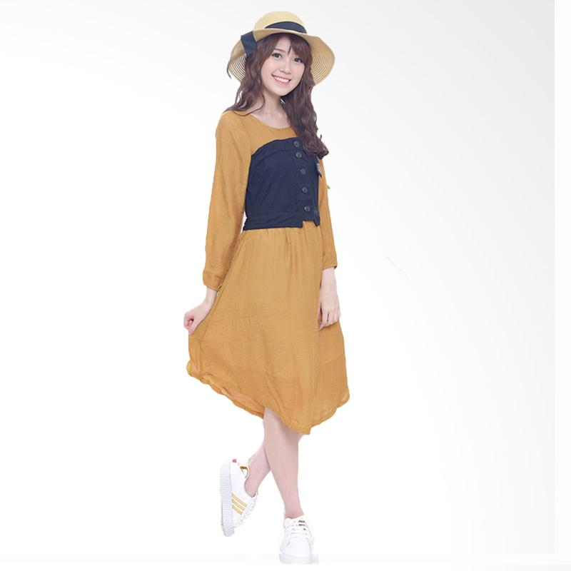 Jual Daily Deals Jfashion Korean Style Midi Dress Combination Corry Coklat Online Harga