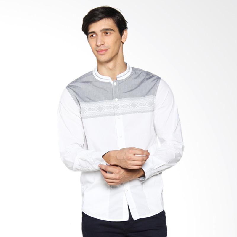 Jual Cardinal Jeans Kemeja Koko Slim Fit - Putih Kombinasi