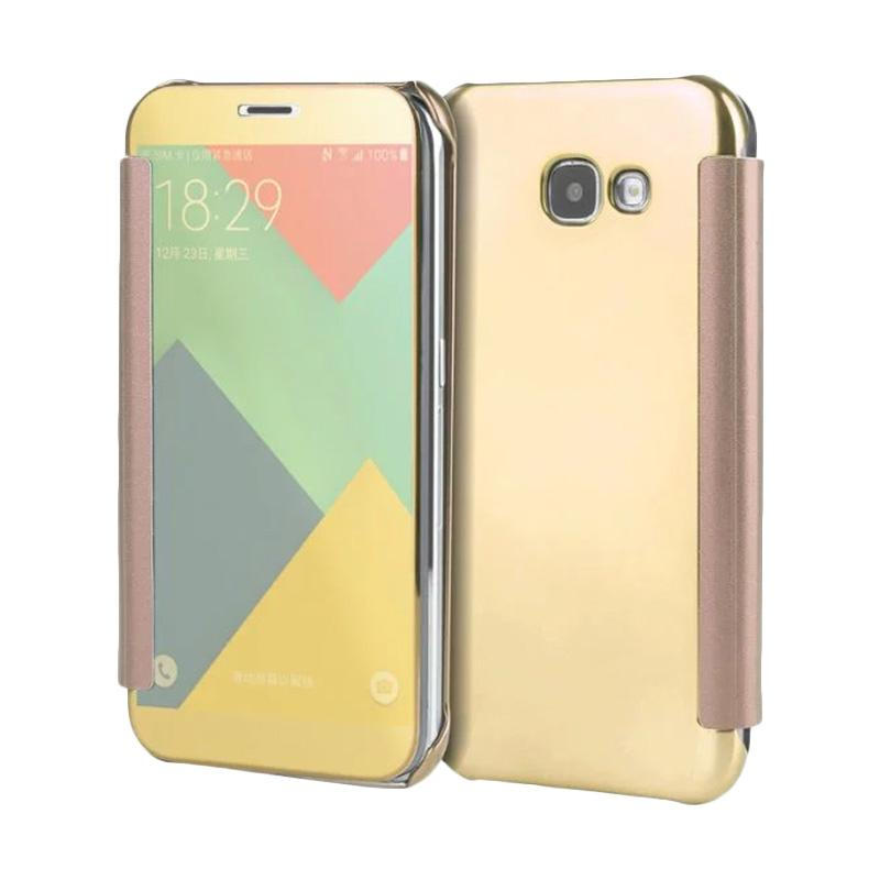 jual samsung clear view flip cover casing for samsung galaxy a3 2017 a320 gold online harga. Black Bedroom Furniture Sets. Home Design Ideas